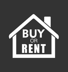 Buy or rent house white home symbol with the vector