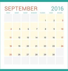 Calendar 2016 Flat Design Template September Week vector