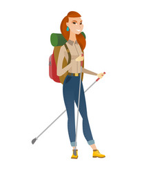 Caucasian woman hiker walking with trekking sticks vector