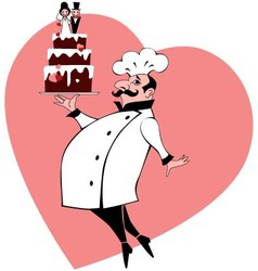 Chef with wedding cake vector