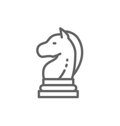chess horse knight piece strategy line icon vector image