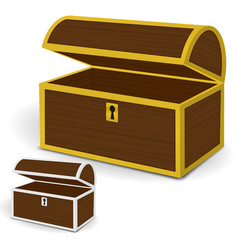 Chest 3d empty wooden chest with gold and silver vector