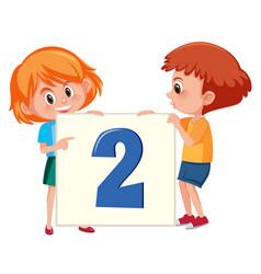 Children holding number two banner vector