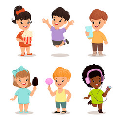Children set cute kids with popcorn smartphone vector