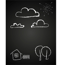 Childrens drawing of clouds in chalk vector image