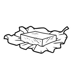 Coloring book butter on wrapping paper vector