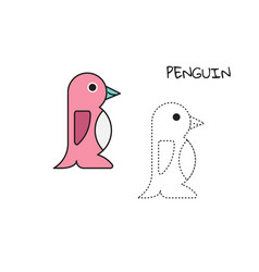coloring book penguin vector image