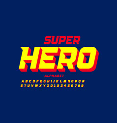 Comics super hero style font alphabet letters and vector