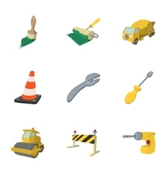 Construction of road icons set cartoon style vector image