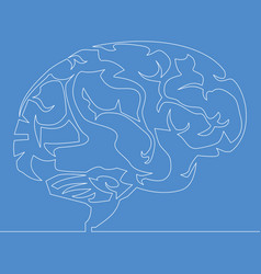 continuous one line drawing brain concept vector image