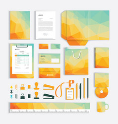 Corporate identity design template with yellow vector