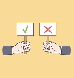 Correct and incorrect signs concept vector