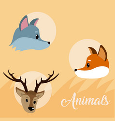 cute animal icons cartoon vector image