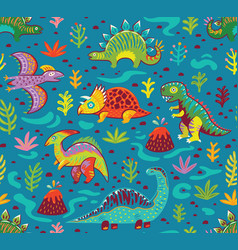 Cute cartoon dinosaurs endless background vector