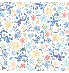 Cute snowmen seamless pattern background vector image