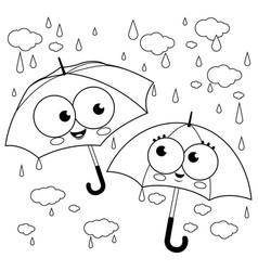 Cute umbrella characters in rain vector