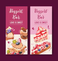 Dessert flyer design with strawberry cake puff vector