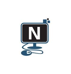 digital technology initial n vector image