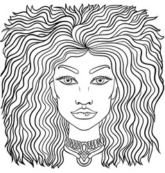 doodle girls face womens portrait for adult vector image