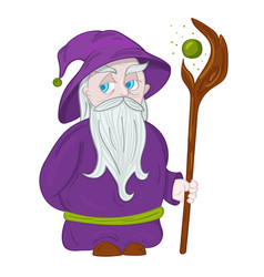 Druid character with hat and staff vector