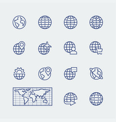 earth planet globe icons set in thin line style vector image