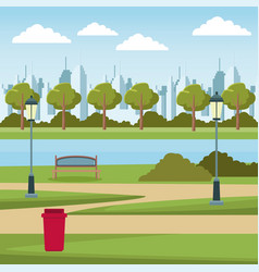 Empty city park vector