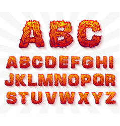 Fire set font alphabet text on a whitebackground vector
