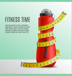 Fitness time bottle concept vector
