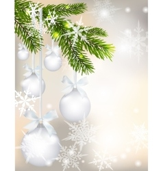 Five shiny glossy silver balls with bows and fir vector