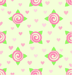 flower pattern - roses and hearts seamless vector image
