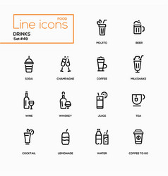 food theme alcohol and soft drinks - line design vector image