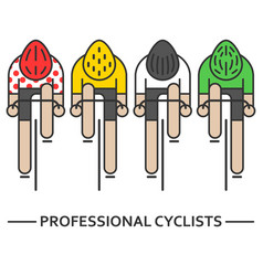 Four flat bicyclists vector