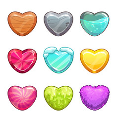 game assets set cartoon heart made from different vector image