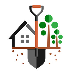 Garden symbol with home and shovel on ground vector