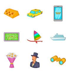 Gathering icons set cartoon style vector