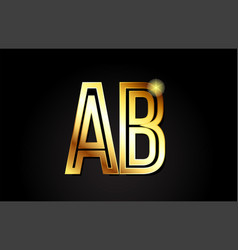 Gold alphabet letter ab a b logo combination icon vector
