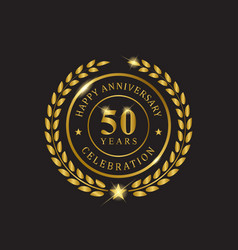 gold wreath anniversary fifty years celebration vector image