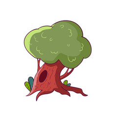 Green fairy oak with hollow big tree from vector