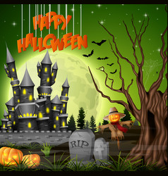 halloween background with castle and scarecrow vector image