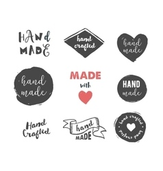Handmade crafts workshop made with love icons vector