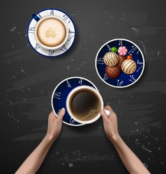 Hands holding cup of coffee coffee break vector