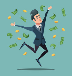 Happy businessman jumping under money rain vector