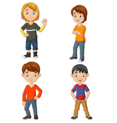 happy group young people standing vector image