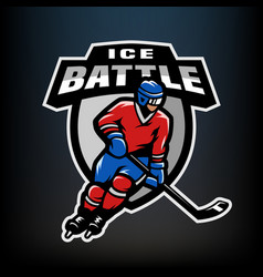 hockey player logo emblem vector image