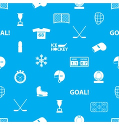 Ice hockey sport icons blue and white seamless vector