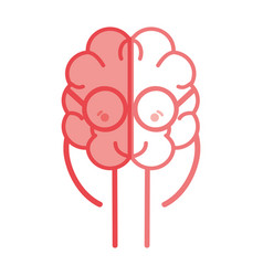 Icon adorable kawaii brain with glasses vector