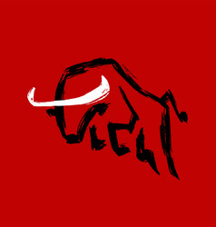 Jumping bull dry ink chinese new year 2021 logo vector