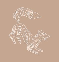 jumping fox ornate animal harmony and zen vector image