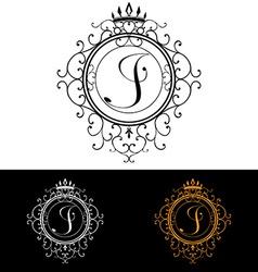 Letter j luxury logo template flourishes vector