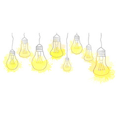 Linear of hanging light bulbs with vector